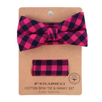 Men's Fuchsia Plaid Cotton Bow Tie & Matching Pocket Square - CBTH1711
