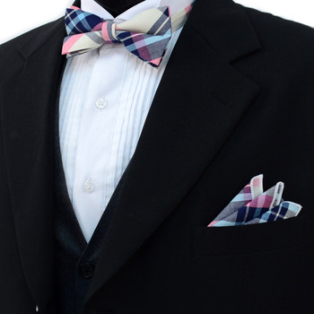 Men's Pastel Color Plaid Cotton Bow Tie & Matching Pocket Square - CBTH1712