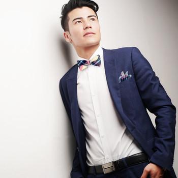 Men's Pastel Color Plaid Cotton Bow Tie & Matching Pocket Square - CBTH1712