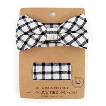 Men's Black Beige Plaid Cotton Bow Tie & Matching Pocket Square - CBTH1713