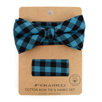 Men's Turquoise Plaid Cotton Bow Tie & Matching Pocket Square - CBTH1714