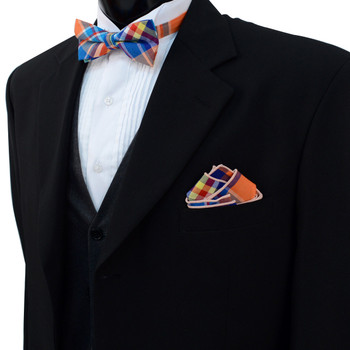 Men's Vivid Color Plaid Cotton Bow Tie & Matching Pocket Square - CBTH1719