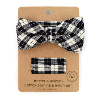 Men's Black Beige Plaid Cotton Bow Tie & Matching Pocket Square - CBTH1721