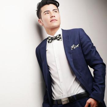 Men's Black Beige Plaid Cotton Bow Tie & Matching Pocket Square - CBTH1721