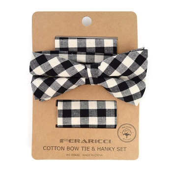 Men's Black Plaid Cotton Bow Tie & Matching Pocket Square - CBTH1723