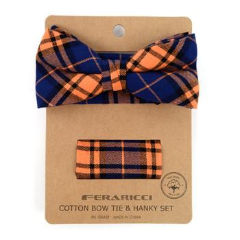 Men's Orange Blue Plaid Cotton Bow Tie & Matching Pocket Square - CBTH1725