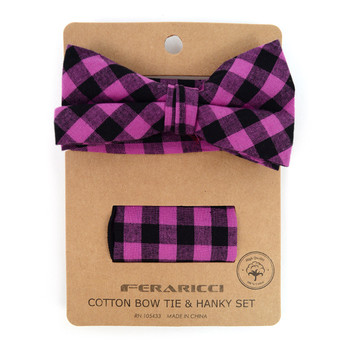 Men's Purple Plaid Cotton Bow Tie & Matching Pocket Square - CBTH1728
