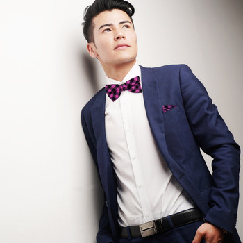 Men's Purple Plaid Cotton Bow Tie & Matching Pocket Square - CBTH1728