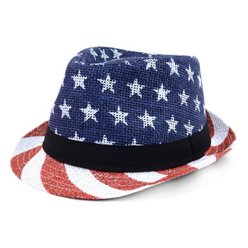Spring/Summer USA Stars & Stripes American Flag Trilby Fedora Hat - H10400