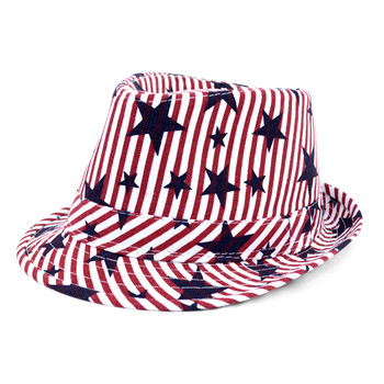 Spring/Summer USA Stars & Stripes American Flag Trilby Fedora Hat - H10401