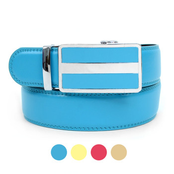 Cut to Adjust Size Men's Genuine Leather Sliding Buckle Ratchet Belt - MGLB