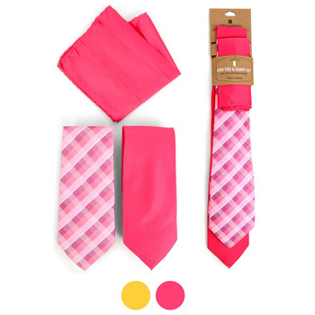 Plaid & Solid Microfiber Poly Woven Two Ties & Hanky Set - TH2X-3