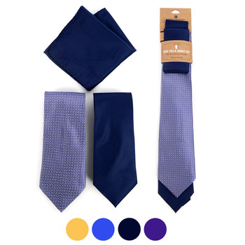 Geometric & Solid Microfiber Poly Woven Two Ties & Hanky Set - TH2X-5