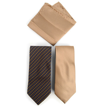 Plaid & Solid Microfiber Poly Woven Two Ties & Hanky Set - TH2X-6