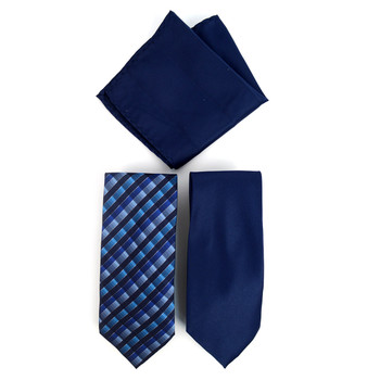 Plaid & Solid Microfiber Poly Woven Two Ties & Hanky Set - TH2X-10