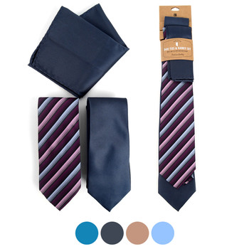 Striped & Solid Microfiber Poly Woven Two Ties & Hanky Set - TH2X-11