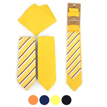 Striped & Solid Microfiber Poly Woven Two Ties & Hanky Set - TH2X-12