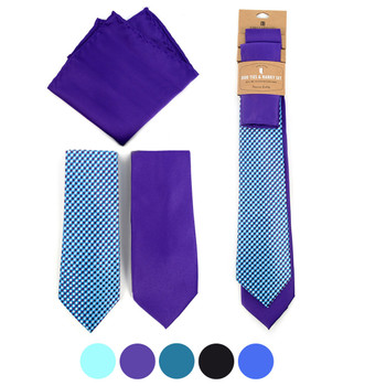 Dots & Solid Microfiber Poly Woven Two Ties & Hanky Set - TH2X-13