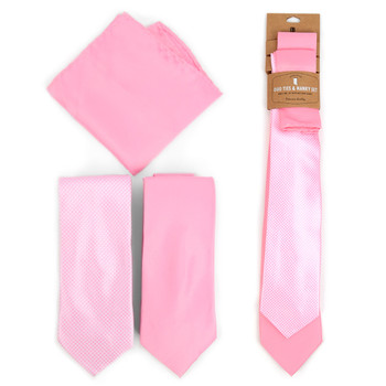 Dots & Solid Pink Microfiber Poly Woven Two Ties & Hanky Set - TH2X-PK1