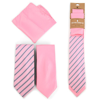 Striped & Solid Pink Microfiber Poly Woven Two Ties & Hanky Set - TH2X-PK2