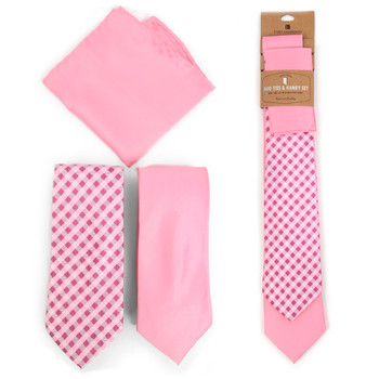 Plaid & Solid Pink Microfiber Poly Woven Two Ties & Hanky Set - TH2X-PK3