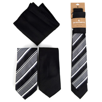 Striped & Solid Black Microfiber Poly Woven Two Ties & Hanky Set - TH2X-BK3