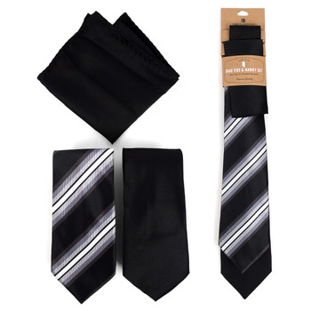 Striped & Solid Black Microfiber Poly Woven Two Ties & Hanky Set - TH2X-BK4