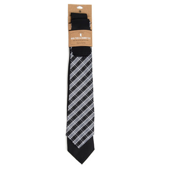 Plaid & Solid Black Microfiber Poly Woven Two Ties & Hanky Set - TH2X-BK9
