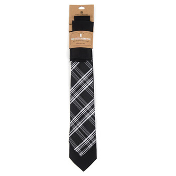 Plaid & Solid Black Microfiber Poly Woven Two Ties & Hanky Set - TH2X-BK10