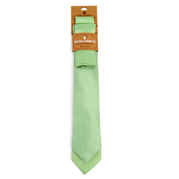 Dots & Solid Light Green Microfiber Poly Woven Two Ties & Hanky Set - TH2X-L-GR1