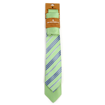 Striped & Solid Light Green Microfiber Poly Woven Two Ties & Hanky Set - TH2X-L-GR2