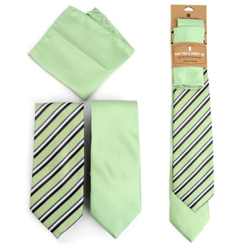 Striped & Solid Light Green Microfiber Poly Woven Two Ties & Hanky Set - TH2X-L-GR3