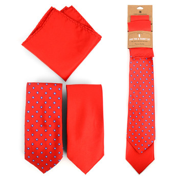 Dots & Solid Red Microfiber Poly Woven Two Ties & Hanky Set - TH2X-RD3