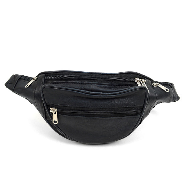100% Genuine Goatskin Leather Fanny Pack Waist Bag with Adjustable Strap - FBW1854