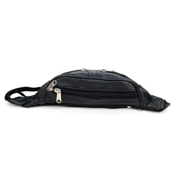 100% Genuine Goatskin Leather Fanny Pack Waist Bag with Adjustable Strap - FBW1855