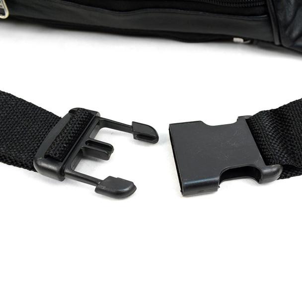 100% Genuine Goatskin Leather Fanny Pack Waist Bag with Adjustable Strap - FBW1856