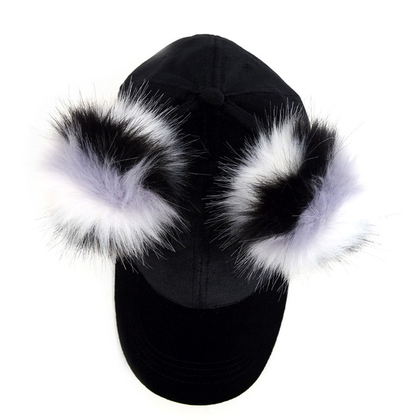 Black Velour Baseball Cap with Double Faux Fur Pom Pom - VLRC0823