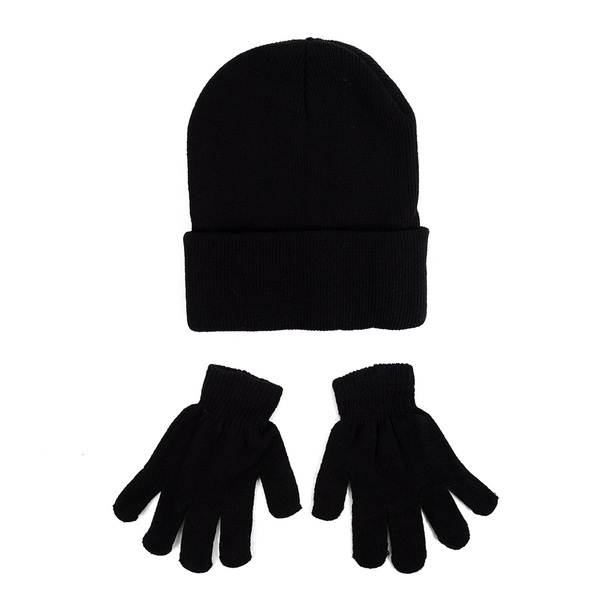 Kid's Winter Black Knitted Hat & Gloves Set - KAHS0816