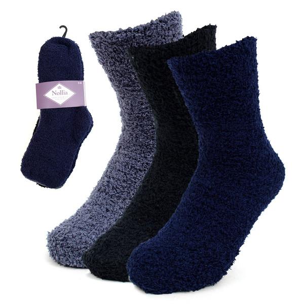Assorted (3 Pairs) Women's Solid Color Warm Fuzzy Socks - 3PR-LFS6