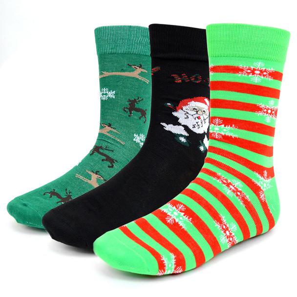 3 Pairs Pack Men's Christmas Holidays Crew Socks - 3PK-MXMS1