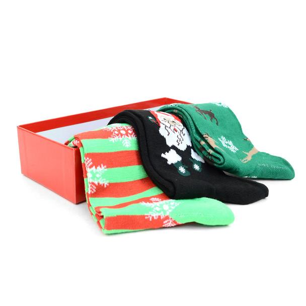 3 Pairs Pack Men's Christmas Holidays Crew Socks Gift Box - 3PK-MXMS1-BX
