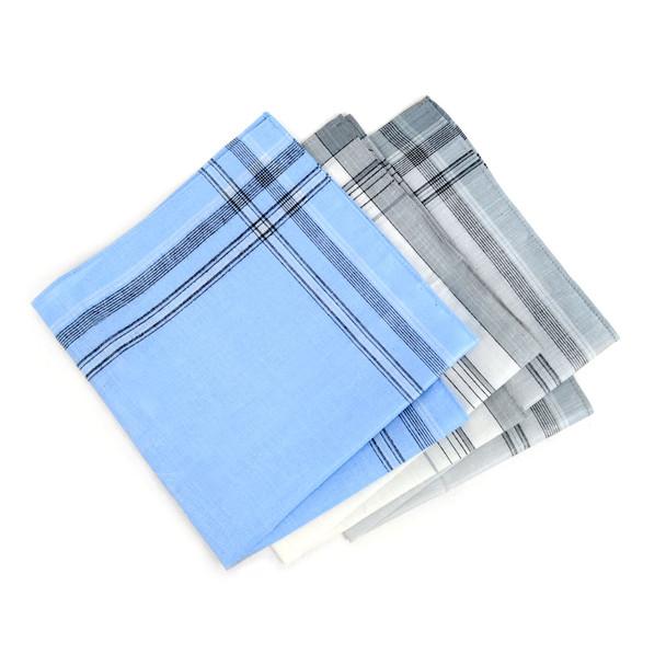 Case Pack Deal Men's White, Blue & Gray Handkerchiefs - PH003-1