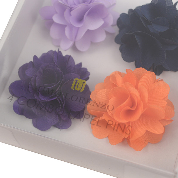 Assorted Solid Mini Bouquet Clutch Back Flower Lapel Pin 4pc Combo Set 4FLP-PRP