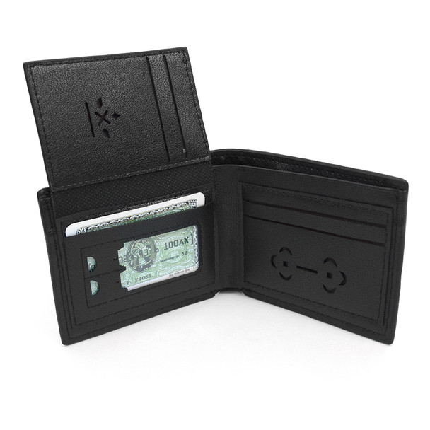 12pc Black Woven Leather Wallet with Stitched Trim & Keychain Set WKB17102