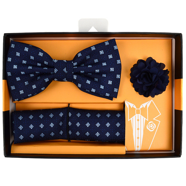 Square Dotted Banded Bow Tie, Matching Hanky & Lapel Pin Set BTHLB07050M