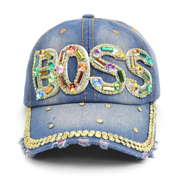 """BOSS"" Bling Studs Denim Baseball Cap CP9606"
