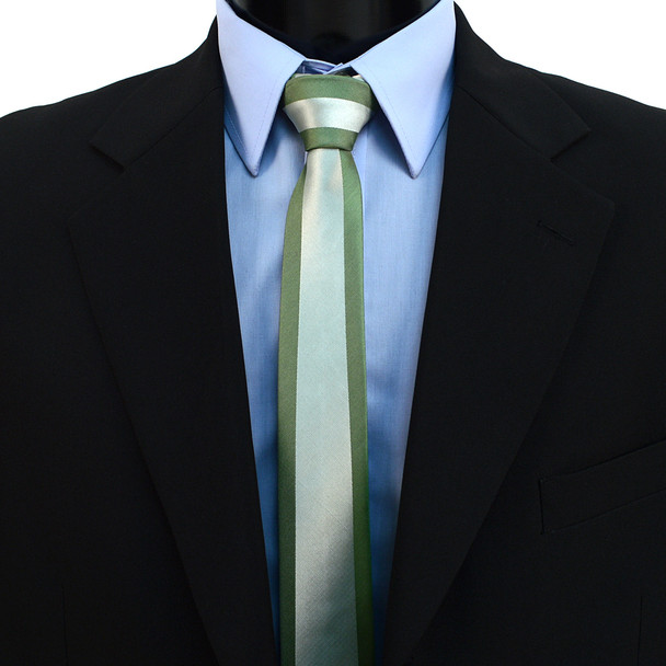"""Olive Microfiber Poly Woven 2.25"""" Slim Panel Tie MPPW1623"""