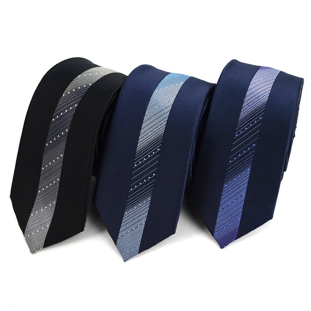 "Gradient Striped Microfiber Poly Woven 2.25"" Slim Panel Tie MPPW1619"