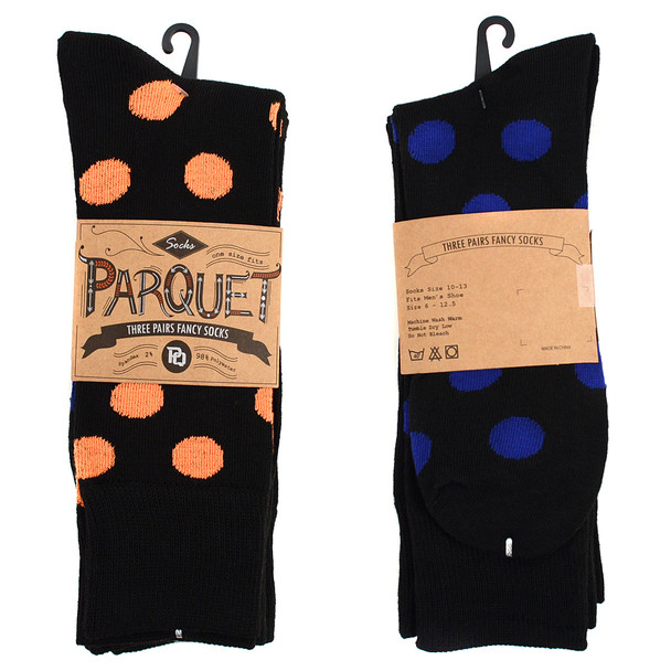 Assorted Pack (3 Pairs) Men's  Polka Dot Pattern Crew Socks 3PKS-MC707