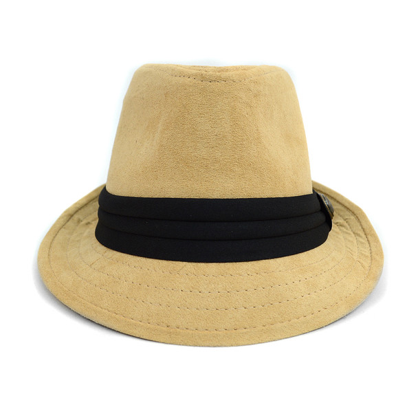 Fall/Winter Suede Trilby Fedora Hat with Button Accent & Band Trim H171223